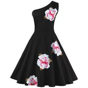ZAFUL Women Vintage One Shoulder Floral Picnic Dress Cocktail Party Dress Black(L,Black)