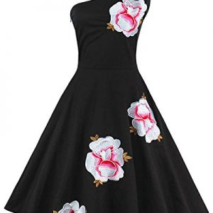 ZAFUL Women Vintage One Shoulder Floral Picnic Dress Cocktail Party Dress Black(L,Black)
